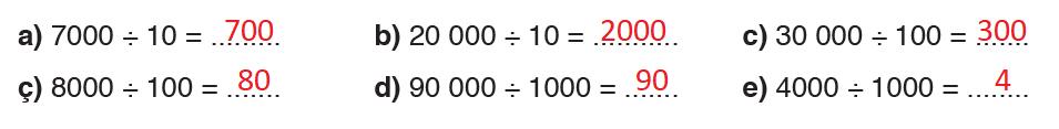 10, 100 ve 1000 ile bölme